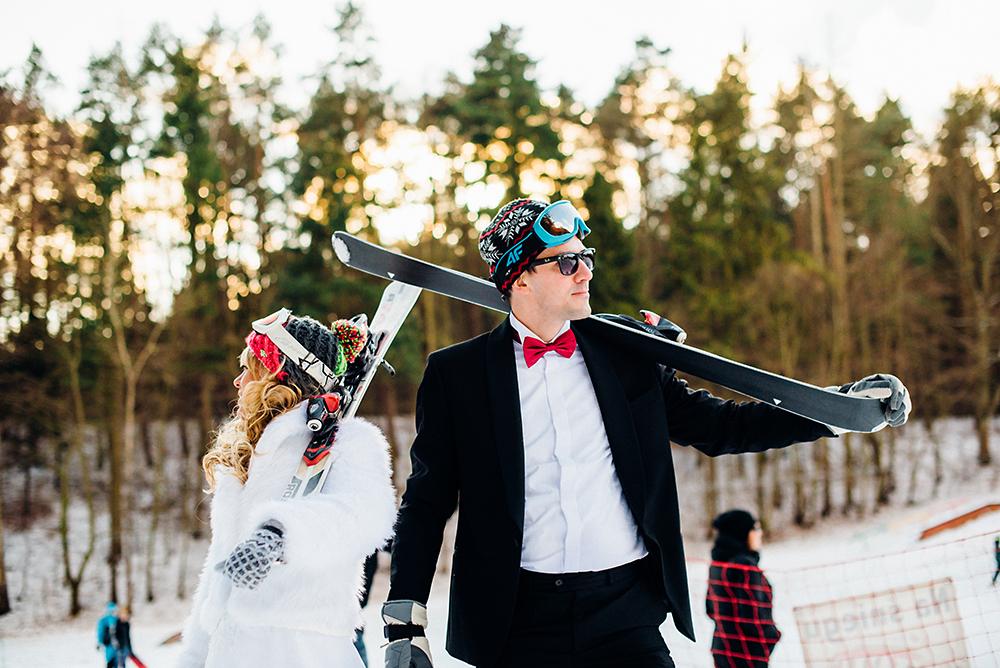 Zimowa sesja ślubna Agi i Krzyśka